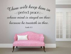Check out Bible Verse Wall Art Isaiah Perfect Peace, Scripture Wall Decal, Isaiah 26 3 Wall Art, KJV Scripture Decal, Mind Stayed On Thee on inspirationwallsigns Wall Decals For Bedroom, Vinyl Wall Decals, Bedroom Decor, Wall Stickers, Bedroom Ideas, Master Bedroom, Peace Scripture, Bible Verse Wall Art, Bible Verses