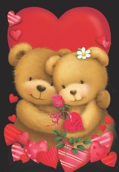 Valentine's - Gabi Murphy Teddy Bear Hug, Teddy Bear Cartoon, Tatty Teddy, Cute Teddy Bears, Teddy Beer, Image Halloween, Rice Paper Decoupage, Love You Gif, Love Bears All Things