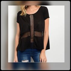 Edgy  Mesh High-low Top This top is 100% Polyester. Mesh cross front and open mesh back. Super soft and light. En creme Tops Muscle Tees