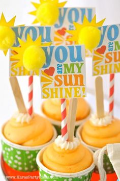 Love these You Are My Sunshine Cupcake Toppers--decor shop + party ideas via Kara's Party Ideas karaspartyideas.com (62)