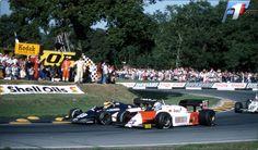 (33) Roberto Guerrero - Theodore N183 Ford Cosworth DFV - Theodore Racing Team - (23) Mauro Baldi - Alfa Romeo 183T Alfa Romeo 890T - Marlboro Team Alfa Romeo - (42) Jonathan Palmer - Williams FW08C Ford Cosworth DFV - TAG Williams Team - XXXV Grand Prix of Europe - 1983 FIA Formula 1 World Championship, round 14