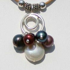 Pearl Cluster Leather Necklace Maggie McMane Designs | MaggieMcManeDesigns - Jewelry on ArtFire