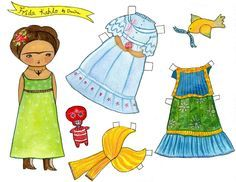 Frida's Paper Doll: This is a reproduction of an original painting by me, Danita Art. Printed on very high quality paper, it reproduces every little detail of the original for you to enjoy, framed or unframed. Choose from the different options & sizes on my shop. Choose your favorite. Paper looks amazing when framed. The wood blocks are ready to hang. All my prints are made with high quality fade resistant inks, amazing paper & lots of love :)