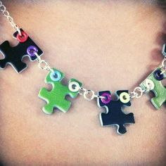 Necklace made from puzzle pieces
