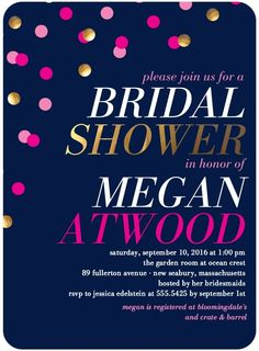 Shining Shower - Signature White Bridal Shower Invitations in Baltic or Coffee | Jenny Romanski
