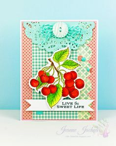 Cherries & Peaches ; PTI Parisian lace doily