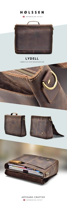 Vintage Leather Briefcase Messenger bag for work, school to carry ipad, laptop, macbook, tablets and essentials.