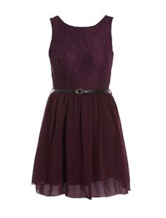 Dark Red Belted Lace Skater Dress|Newlook £10.00