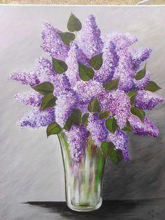 bouquet de lilas mauves de mon jardin sur un fond gris couleur d'orage - Peinture,  40x50 cm ©2014 par artizaline -                                                            Peinture contemporaine, Toile, Fleur, nature morte aux lilas, tableau fleurs, peinture acrylique fleurs, tableau lilas