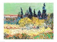 The Garden at Arles, detail of the cypress trees by Vincent Van Gogh art print