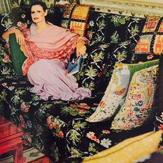 Either this room would kill you or make you stronger. At 91 Gloria Vanderbilt is still a presence. Does that suggest that gleeful pattern and colour are life enhancing? Photograph - Horst 1975.