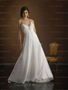 Sheath/Column Sweetheart Embroidery Beading Chiffon Chapel Train Wedding Dress at Millybridal.com