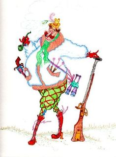 """Hunter"" original watercolor whimsical illustration from artist Marina Sciascia (USA)"