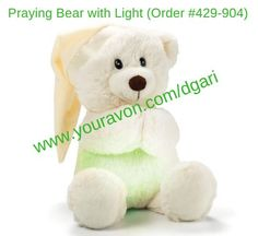 """A great addition to any nursery room. Put hands together and bear's belly glows while reciting """"Now I Lay Me Down to Sleep"""" bedtime prayer. https://www.avon.com/product/praying-bear-with-light-57149?rep=dgari&utm_content=buffer56462&utm_medium=social&utm_source=pinterest.com&utm_campaign=buffer $24.99 #nursery #bear #bedtime #prayer #holiday #gift"""