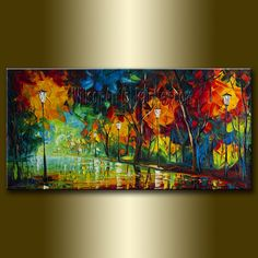 Original Textured Palette Knife Landscape Painting by willsonart, $225.00