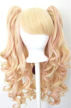 Wig 20'' Gothic Lolita  + 2 Pig Tails Set Pink and Blonde Mixed    Special Price: $46.0