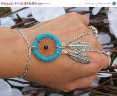 Sized Turquoise Dream Catcher Slave Bracelet, Ring Bracelet, Hand Jewelry, Custom, Sized, Adjustable, Dreamcatcher, Bracelet, Body Chain