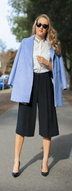 fuzzy periwinkle double breasted coat, embellished collar blouse, black pleated flowy culottes + classic black patent pumps