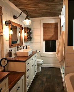 dream bathroom If shiplap and wood elements are your dream finishes this is your dreamm bathroom! via betterhomesandgardens Cabin Bathrooms, Dream Bathrooms, Beautiful Bathrooms, Small Bathroom, Bathroom Ideas, Bathroom Makeovers, Bathroom Designs, Wood In Bathroom, Master Bathroom