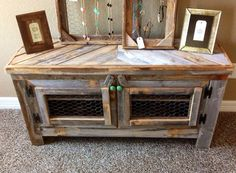 Barn Wood Style Tv Stand, Reclaimed Wood & Chicken Wire Restorationcrown…