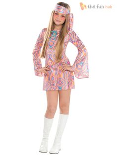 Become a dancing queen in our Disco Diva Costume! Disco Diva Costume for girls features a shimmery, swirl-printed mini dress with long bell sleeves. Fancy Dress Costumes Kids, Fancy Dress Outfits, Halloween Costumes For Girls, Costume Halloween, Girl Costumes, Girl Halloween, Rave Outfits, Disco Outfits, 70s Outfits