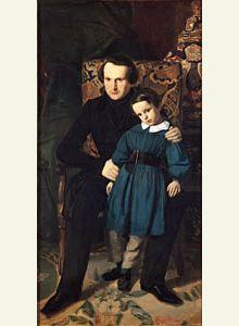Victor Hugo et son fils François-Victor (né en 1828) Peinture d'Auguste de Chatillon, 1836 Paris,
