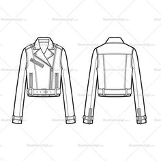 Buckle Detail Cropped Moto Jacket Flat Template
