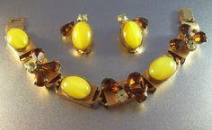Rhinestone Bracelet Earrings Set Vintage Lemon by LynnHislopJewels, $74.99
