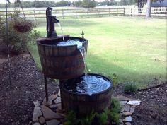 DIY Wiskey Barrel fountain