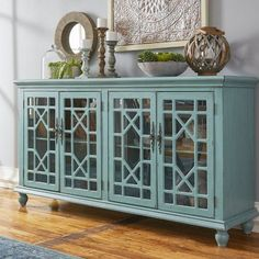 Display a flat screen TV and store all your media essentials with this distinctive TV stand, showcasing glass-paned doors with chippendale fretwork overlay. Living Room Furniture, Living Room Decor, Tv Stand Decor, Tv Cabinet Design, Ideas Hogar, Tv Cabinets, Classic Furniture, Entertainment Center, Home Decor Accessories