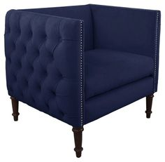 Aldridge Tufted Chair, Navy Velvet