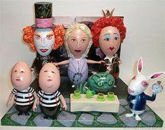 Alice in Wonderland hand painted Easter eggs