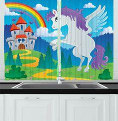rainbow window unicorn cartoon fantasy drapes medieval curtains ambesonne castle fairy kitchen tale myth cafe