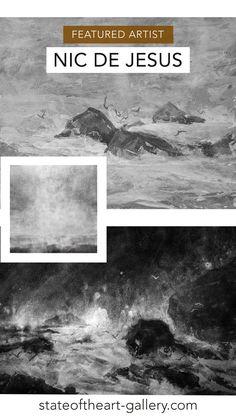 Digital collage artworks of the South African coastline by Nic de Jesus. Charcoal Artists, Artist Film, South African Artists, Collage Artwork, Water Me, Landscape Drawings, Digital Collage, Natural World, Online Art Gallery