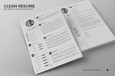 Clean Resume CV Set by SNIPESCIENTIST on @creativemarket