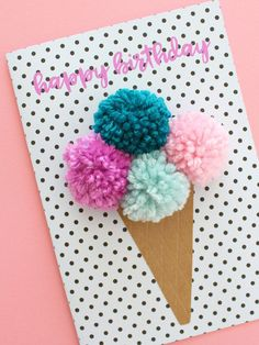 Pom Pom Ice Cream Cone Birthday Card | Free Birthday Card Printables | Birthday Cards Ideas | Birthday Cards DIY | Birthday Cards Downloads | Birthday Cards Mom | Funny | Funny | Friend | Kids | Easy | For Wife | For Husband | For Son | For Daughter | Handmade | Simple | Pop Up Birthday Cards | Happy Birthday Card | Repinned by @purplevelvetpro | www.purplevelvetproject.com |