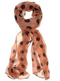 Blush polka dot skinny scarf