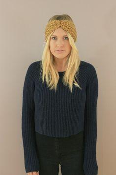 Very warm ear warmers Gold Chunky Wool turban Headband. crochet, handmade miyuki crochet, montreal