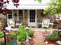 "Debbie painted her patio. Now she has a fabulous ""brick"" patio for her quaint cottage. Outdoor Spaces, Outdoor Living, Outdoor Decor, Outdoor Ideas, Patio Flooring, Brick Flooring, Brick Path, Concrete Patio, Patio Stone"