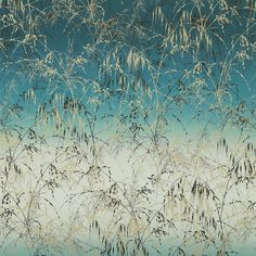 A signature Clarissa Hulse design featuring layers of silhouetted, swaying Wiltshire meadow grasses adorns this eye-catching fabric from the Lilaea collection. Meadow Grass 120620 Ocean/Teal by #Harlequin #fabric