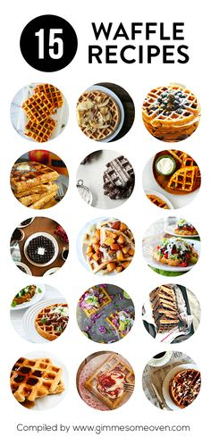 15 Waffle Recipes -- a delicious collection of sweet and savory waffles Savory Waffles, Pancakes And Waffles, Making Waffles, Brunch Recipes, Breakfast Recipes, Mexican Breakfast, Pancake Recipes, Crepe Recipes, Gastronomia