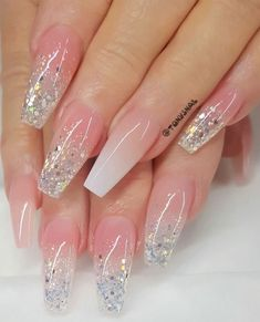 Every little girl dreams of having a fairytale wedding and looking the glowing, absolutely radiant bride and looking beautiful from head to toes even. Purple Acrylic Nails, Acrylic Nails Coffin Short, Best Acrylic Nails, Pink Nails, Gel Nails, Nude Nails With Glitter, Blue Nail, Bride Nails, Wedding Nails