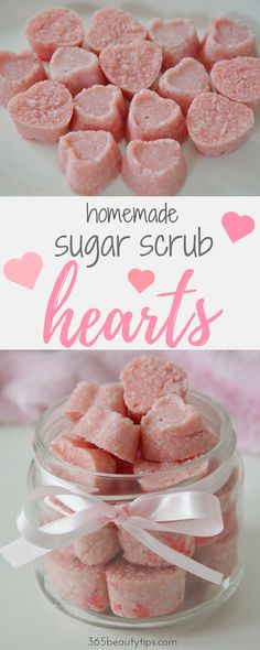 DIY: These homemade sugar scrub hearts are the perfect Valentine's day gift and a great way to get soft, smooth skin. Give them to your special someone or treat yourself!