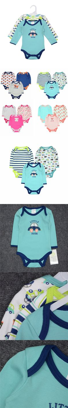 3pcs/lot Winter Baby Romper Long Sleeve 100% Cotton Bebe Clothing Newborn Baby Boy Clothes Infant Jumpsuit