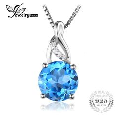 2.5ct Round Natural Blue Topaz Pendant 925 Sterling Silver