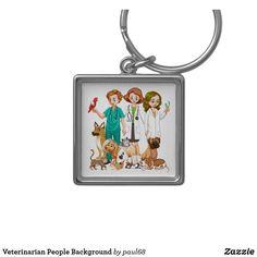 Veterinarian People Background Keychain
