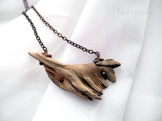 Tribal necklace, organic driftwood jewelry from Baltic Sea, natural earthy necklace, copper triangle necklace