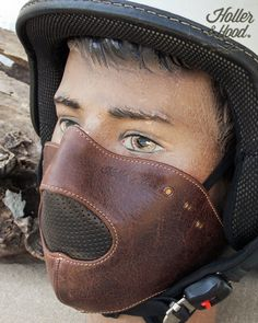 holler&hood thunderbird hog nose/motorcycle leather mask/cafe racer mask/biker mask/leather riding mask/Built for speed !! by HollerandHood on Etsy
