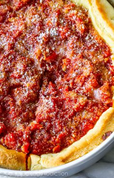 How To Make Chicago-Style Deep Dish Pizza. My husband just went to Chicago and raved about the pizza. This will be a GREAT surprise for him! Italian Dishes, Italian Recipes, Pizza Recipes, Cooking Recipes, Cheese Recipes, Cooking Ham, Cooking Rice, Copycat Recipes, Dinner Recipes