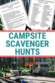 These printable campsite scavenger hunts will keep you and your kids busy at the campground this summer. preschool nature scavenger hunts | #printables #campingideas #scavengerhunt #getoutside #takethemoutside
